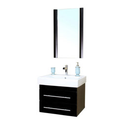 "Bellaterra Home - 24 Inch Modern Single Sink Bathroom Vanity, Black, 24 Inch Single Vanity - This 24 inch modern  single sink bathroom vanity is a perfect center piece for your bathroom project.  This black bathroom vanity features  2 drawers, and a white ceramic countertop with  rectangular integrated sink that is pre-drilled for a standard single hole faucet (faucet not included). Large opening in back for easy plumbing installation.  Dimensions: 24""W X 18.9""D X 19.3""H (Tolerance: +/- 1/2""); Counter Top: White Ceramic ; Finish: Black; Features: 0 Doors, 2 Drawers; Full Extension Ball Bearing Glides, Soft Close Hinges; Hardware: Full Extension Bearing Drawer Glide, nickel finish hardware; Sink(s): Rectangular Integrated White Ceramic (17.3""X12""X5.25""); Faucet: Pre-Drilled for Standard Single Hole Faucet (Not Included); Assembly: Fully Assembled; Large cut out in back for plumbing; Included: Cabinet, Sink; Not Included: Faucet, Drain, Backsplash, Mirror."