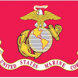 US Marine Corps Flag 3x5 Nylon - Outdoor Nylon US Military Flag U.S. Flag Store's U.S. Marine Corps Flag is printed in America on Nylon flag fabric. Since this flag is made in America, U.S. Flag Store is able to ensure that the complex Military emblems are printed with accuracy, sharp detail and bright colors. This outdoor Marine Corps Military Flag is finished with the same high quality materials as all of U.S. Flag Store's US flags, and is extremely durable and long lasting.