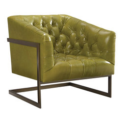 Lee Industries - Rush Leather Chair - The modern Rush chair boldly combines edgy lines and luxurious leather. Button tufting creates rich detailing, while metallic legs stand in contemporary form. Antique brass frame; Soy-based foam cushion wrapped in regenerated fibers and sewn into 100% cotton downproof ticking; Choose from a selection of upholstery options; Shown in Magnum Green; Fabric samples are available on loan, email your request to swatches@zincdoor.com; Made in the USA using sustainable, eco-friendly production practices; Top grain, unprotected leather; Natural markings and minor scratches are expected
