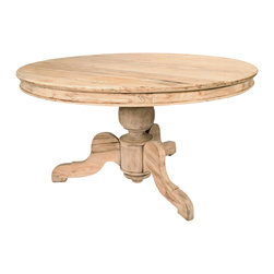 """Kathy Kuo Home - Reclaimed English Oak Pedestal Breakfast Table - Perfect for almost any decor, this unfinished rustic oak table is an impressive 55"""" round by 30.5"""" tall. The legs are 18"""" Long, 13-1/2"""" tall and tapered to 4"""". Each leg has approximately 38"""" of space between them. The impressive center post measures 8 3/4"""" wide. The base is a solid piece and does not knock down. Because of the unfinished nature of the table, everyday use will begin to show immediately. The more the table is used, the more patina it will gain from water, oil or other substances typically used and served on a table."""