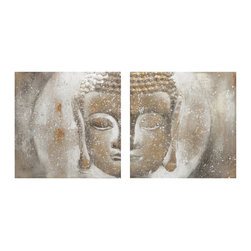 iMax - iMax Texturized Buddah Oil on Canvas X-22128 - The sand inspired textured Buddha painting brings a natural Zen feeling.