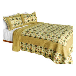 Blancho Bedding - [Autumn in Countryside] Cotton 3PC Patchwork Quilt Set (Full/Queen Size) - Set includes a quilt and two quilted shams (one in twin set). Shell and fill are 100% cotton. For convenience, all bedding components are machine washable on cold in the gentle cycle and can be dried on low heat and will last you years. Intricate vermicelli quilting provides a rich surface texture. This vermicelli-quilted quilt set will refresh your bedroom decor instantly, create a cozy and inviting atmosphere and is sure to transform the look of your bedroom or guest room. Dimensions: Full/Queen quilt: 90 inches x 98 inches  Standard sham: 20 inches x 26 inches.