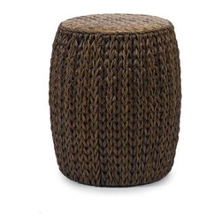 Veneta Woven Ottoman - Woven seagrass, bamboo and rattan create the natural look of the Veneta ottoman. Great for use as a side table, this ottoman adds a warm honey tone to any room.