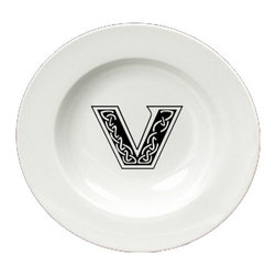 Caroline's Treasures - Letter V Initial Monogram Celtic Round Ceramic White Soup Bowl CJ1059-V-SBW-825 - Letter V Initial Monogram Celtic Round Ceramic White Soup Bowl CJ1059-V-SBW-825 Heavy Round Ceramic Soup Bisque Gumbo Bowl 8 3/4 inches. LEAD FREE, microwave and dishwasher safe. The bowl has been refired over 1600 degrees and the artwork will not fade or crack. The Artwork for this gift product and merchandise was created by Sylvia Corban copyright and all rights reserved.