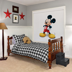 Disney Mickey Mouse Roller Shades - Disney Light Filtering Roller Shades offer the most popular Classic Disney characters such as Goofy, Mickey Mouse, or even Donald Duck. Use these shades as the finishing touch or the starting point to decorating a room for that special child in your life. The window will be transformed into a timeless Disney classic on the inside while allowing for a uniform appearance to the outside. Available online only at SelectBlinds.com, Disney light filtering roller shades are custom made with a child safety cordless lift system and with a fabric wrapped bottom rail for a uniform look. To finish the shade with a contemporary modern appeal, simply add the Cassette option and let some of Disney's magic into your own home.