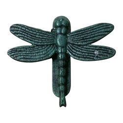 "AJchibp-2975-061 - Cast Iron Antique Teal Dragon Fly Door Knocker - Cast iron antique teal dragon fly door knocker. Measures 7"" x 7"". No assembly required."