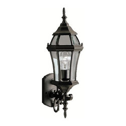 BUILDER - BUILDER Townhouse Traditional Outdoor Wall Sconce X-KB0979 - This Kichler Lighting outdoor wall sconce features a Painted Black finish that accentuates all the fine details, including the scrollwork around the base along the arm. From the Townhouse Collection, it also features clear beveled glass panels for a clean, updated look. U.L. listed for wet locations.