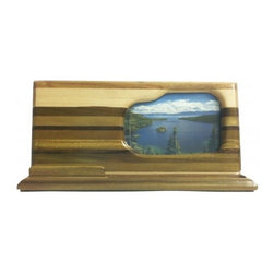 Exotic Chopping Blocks - Scenic Business Card and Pen Holder - This unique business card and pen holder includes soothing woods such as Poplar, Verawood, Seduoa, Maple, and Canary as well as a photograph of Lake Tahoe. These woods are their natural colors, only enhanced by a clear spray varnish. This piece has four felt feet on the bottom to protect the piece and the surface it sits on from any scratches.