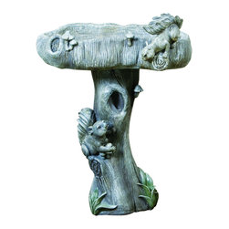 None - Wildlife Bird Bath - This bird bath features a whimsical design that includes squirrels and mushrooms. Designed exclusively by Kelkay, this bath is constructed from durable resin-stone.