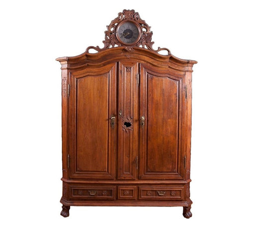 """Rare Flemish Armoire in Oak with Tall-Case Clock, c. 1750 - 68"""" wide x 20"""" deep x 96"""" high"""