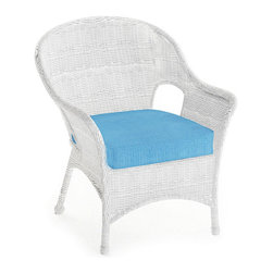 Forever Patio - Rockport Traditional Patio Lounge Chair, Air Blue Cushions - Expand your outdoor seating with the classic-looking Rockport Lounge Chair (SKU FP-ROC-C-WH-AB). Its UV-protected White wicker and round-weave design creates a cheery, traditional look that is made to last. This lounge chair includes a fade- and mildew-resistant Sunbrella cushion; the industry's best outdoor fabric. More to Love about this Product