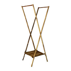 """Master Garden Products - Bamboo Laundry Drying Rack, 14.5"""" W x 20""""D x 60""""H - Our bamboo laundry drying rack is foldable for easy storage if not in use. It is 60"""" high for easy hanging of long bath towels and other larger sized garments. There is also a lower bamboo slat shelf for extra space to store supplies and accessories. This bamboo drying rack is a simple yet practical way to air dry your laundry, making your space neat and organized. The heavy duty two hanging rods allows you to hang plenty of clothes as well as an ample amount of hanging space. Constructed entirely of bamboo, this laundry rack is durable and will last for years! Just unfold and use, no assembly required."""