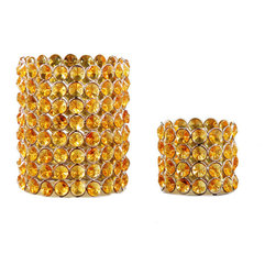 None - Yellow Crystal Beaded Tea-light Votive Set (Set of 2) - Illuminate your home with this darling votive set. With chic yellow crystal beading these beautiful tea-light holders will brighten any room.