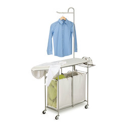 None - Foldable Ironing Laundry Center and Valet - Put everything you need to manage your laundry in one place with this fold-up ironing board and laundry center. The organizer also features two removable hampers for sorting clothes, a wire-mesh shelf to safely hold your hot iron, and a bar for hangers.