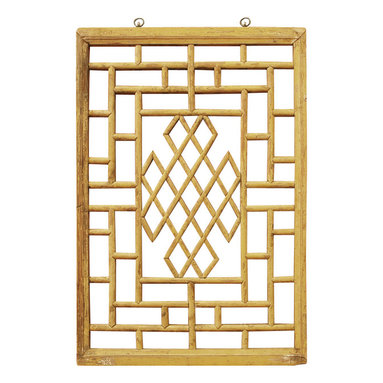 China Furniture and Arts - Window Panel Shutter (7) - Once used as a window shutter in a traditional village house in Zhe Jiang Province, China, some panels are as old as 60-80  years old. Our hand carved hardwood window panel will no doubt supply its own special intrigue, whatever surface it decorates. Sizes are approximate. Metal hangers included.
