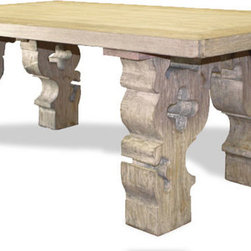 Louisa Corbels Dining Table, Natural Wood and Antiqued Cream with Grays - Louisa Corbels Dining Table, Natural Wood and Antiqued Cream with Grays