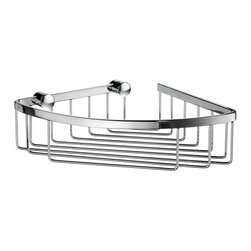 Smedbo - Sideline 6.5 in. Corner Soap Basket in Polished Chrome Finish - Concealed fastening. Produced in Solid Brass it will never rust. 7.63 in. W x 2.5 in. H