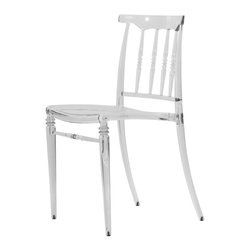 None - Norco Clear Transparent Polycarbonate Dining Chair - The Norco transparent dining chair features a traditional dining style with a modern update.  Manufactured from polycarbonate,this chair can also be used in outdoor spaces.