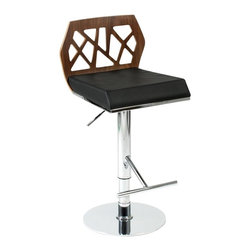 Euro Style - Sophia Chrome Stool - A laser cut MDF back adds visual interest and intrigue to this contemporary bar stool, highlighted by a plush leatherette upholstered seat and an adjustable height feature for added comfort. Available in your choice of finishes, the stool has a chrome colored steel base that adds to the modern appeal. Clear-lacquered, American walnut veneered wood back with stylized cutouts. Black leatherette over foam seat. Chromed steel base and footrest. Swivel and gas lift. Design by Jan Sabro. Easy to clean, durable leatherette seat. Adjustable height from 22- 32 in.. Color/Finish: Walnut/Black/Chrome. 17 in. L x 16.5 in. W x 31 in. H. Assembly InstructionsIf you ever wanted to invite Frank Lloyd Wright over for a cocktail, he mightve passed on the olive and stared at the chair. An intriguing cutout design on the back combined with upholstery and chrome make the Sophia chair a study in form and function.