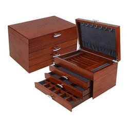 Quality Importers - ChateausurMer Jewelry Box - The Chateau-sur-Mer Jewelry Box - Oak wood construction with gorgeous dark Maple finish  Blue-grey interior velvet  Multiple storage compartments and drawers and 7 pendant hooks with crushed velvet pouch  This item cannot be shipped to APO/FPO addresses. Please accept our apologies.