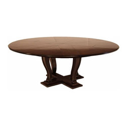 AntiquePurveyor - Transitional Round Dining Table Expands from 64 to 84 Round. Black Solid Oak - Round to round transitional dining room table can be used from 64inches  round to 84 inches round with self storing leaves.  Fantastic quality solid oak round dining table with dark (but not opaque) ebony finish.  Sturdy transitional style pedestal and easy mechanisms make this a prize choice for your next project.