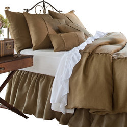 Taylor Linens - Hampton Tobacco Queen Duvet - With understated details such as delicate stitching and mother-of-pearl buttons, this 100 percent linen duvet cover suits your impeccable classic style.
