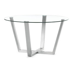 """Tosh Furniture - Guntown Dining Table Clear Glass - With the Guntown dining table's clear circular glass top and stainless steel frame, any space transforms into a more functional and well designed atmosphere. Clear Glass; Tempered Glass; Guntowned Stainless Steel Finish; Some assembly required; Dimensions: 59""""W x 59""""L x 29.5""""H"""