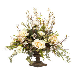 Silk Floral Arrangement in Bronze Urn - You can't pause time, but you can always have perfect flowers. Guests may think you've hand-picked wild blooms from the garden, but the petals on this lush silk bouquet will never fade or wilt. Roses, ivy and hydrangea lend it a bright, romantic feel that's grounded by a classic bronze urn.