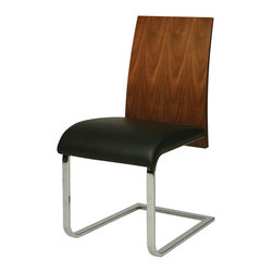 Pastel Furniture - Pastel Furniture Federick Side Chair X-979-AW-HC-011-CF - The Federick side chair is a beautiful classic chair with intricate design details made with chrome and veneer wood. The chair is finished in walnut veneer wood and elegantly upholstered in Pu Black. This chair with its uniqure classic design is a timeless masterpiece.