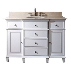 AVANITY WINDSOR 48 in. Bathroom Vanity - The Windsor collection is an elegant classic design with rich details. Each vanity offers multiple soft-close drawers for storage, it is crafted in birch solid wood with the highest workmanship. The galala beige stone top is special fabricated with a reversed-beveled edge to accomodate the vanity design. Also available is matching mirrors to complete your bathroom.