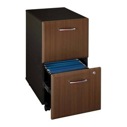 Bush Furniture - Bush Series A Two Drawer File in Sienna Walnut and Bronze Brown - WC25552 - Shop for File and Storage Cabinets from Hayneedle.com! The Bush A-Series Two-Drawer File in Sienna Walnut and Bronze adds generous storage and an attractive look to your home or office. This modular unit is just what you need to organize your business and personal files. Two file drawers each feature hanging file suspension for letter- or legal-size files and a single gang lock secures both drawers. Constructed of durable laminate over particleboard this file cabinet has a two-toned finish in dark bronze and sienna walnut for a contemporary look. Assembly required. Dimensions: 15.63W x 20.38D x 28.25H inches.WARNING: This product contains a chemical known to the State of California to cause cancer birth defects or other reproductive harm.About Bush FurnitureBush Furniture is the eighth-largest furniture company in the United States. Bush manufactures high-quality products which are designed to be easily assembled and provide great value for the price. Bush furniture is made from a combination of particleboard fiberboard and solid wood components. The use of real wood components will be noted in the product description if applicable.Bush Industries has more than 4 million square feet of manufacturing warehousing and distribution space. This allows for a very wide selection of high-quality furniture with the ability to ship quickly. All Bush Furniture is also backed by a 10-year warranty from Bush one of the best in the industry.Please note this product does not ship to Pennsylvania.