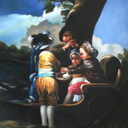 "overstockArt.com - Goya - Children With A Cart - 20"" X 24"" Oil Painting On Canvas Hand painted oil reproduction of famous painting, Children With A Cart , by Francisco Goya. Originally the painting is a tapestry work created in 1778. Today it has been carefully recreated detail-by-detail, color-by-color to near perfection. Francisco Jos̩ de Goya y Lucientes (1746 - 1828) was a Spanish romantic painter and printmaker regarded both as the last of the Old Masters and the first of the moderns. Goya was court painter to the Spanish Crown; throughout the Peninsular War he remained in Madrid, where he painted the portrait of Joseph Bonaparte, pretender to the Spanish throne, and documented the war in the masterpiece of studied ambiguity known as the Desastres de la Guerra. His thematic range extended from merry festivals for tapestries, draft cartoons, to scenes of war and human debasement. This evolution reflects the darkening of his temper. Modern physicians suspect that the lead in his pigments poisoned him and caused his deafness after 1792. Near the end of his life, he became reclusive and produced frightening and obscure paintings of insanity, madness, and fantasy, while the style of the Black Paintings prefigures the expressionist movement. Through his works he was both a commentator on and chronicler of his era. The subversive imaginative element in his art, as well as his bold handling of paint, provided a model for the work of artists of later generations, notably Manet, Picasso and Francis Bacon."