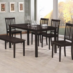 Wildon Home � - Edmonson Dining Table - This Rectangular Dining Table is crafted from selected hardwoods and veneers in a rich Cappuccino finish. Suited for hosting casual or formal events, this table can accommodate up to six persons. The simplicity of its design accentuates the table's rich finish and candid appeal. To complete the look, pair this table with the slat back side chair from the same collection (103192). Features: -Edmonson collection. -Cappuccino finish . -Constructed of veneers and solid wood. -Mission style. -Leg or pedestal legs. -Rectangular top. -Case detail straight with simple legs. -Table edge straight . -Manufacturer provides one year warranty.