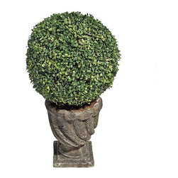 """EttansPalace - 27""""H Tall Boxwood Ball Topiaries- Large Ball - Dense, faux boxwood foliage fools the eye in these hand-crafted, everlasting topiaries that never need to be watered or pruned! All of our exclusive Boxwood Ball topiaries boast lush foliage and are set in exquisite, quality designer resin basins with aged stone finishes. Available in two sizes for home or garden. Large: 15""""Dia. x 27""""H."""