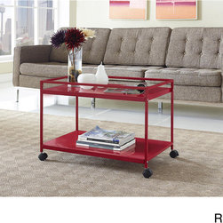 Altra - Marshall 2-shelf Rolling Coffee Table Cart - This Marshall coffee table cart is made of sturdy metal in a powder-coat finish that looks great in any space. Wheels provide easy mobility throughout your home,while the two shelves provide room for virtually any items that you need easy access to.