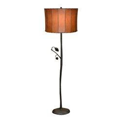 Mathews & Company - Wrought Iron Piney Woods Floor Lamp - This striking, handcrafted wrought iron floor lamp casts golden light in your living space with rustic charm. Featuring beautifully created wrought iron pine cones and branches, the Piney Woods collection brings attractive elements of nature into your home. This floor lamp is hand welded and comes in four finishes to perfectly match your personal style and home d��_cor: natural black, rust, aged pewter or aged bronze. A glass shade is available to add to the lamp, or choose your own favorite shade.