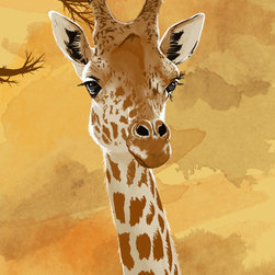 "Maxwell Dickson - Maxwell Dickson ""Giraffe"" Children Animal Canvas Art Print Artwork - We use museum grade archival canvas and ink that is resistant to fading and scratches. All artwork is designed and manufactured at our studio in Downtown, Los Angeles and comes stretched on 1.5 inch stretcher bars. Archival quality canvas print will last over 150 years without fading. Canvas reproduction comes in different sizes. Gallery-wrapped style: the entire print is wrapped around 1.5 inch thick wooden frame. We use the highest quality pine wood available."