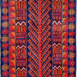 """ALRUG - Handmade Navy Blue Oriental Tribal Baluchi Rug 3' 6"""" x 6' 4"""" (ft) - This Afghan Baluchi design rug is hand-knotted with Wool on Wool."""