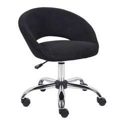 """Boss - Black Micro Fiber Chair - Great for a teen's room, small office area or for use as a vanity stool. Upholstered in Black microfiber. Pneumatic gas lift seat height adjustment. Hooded double wheel casters. 24"""" chrome base."""