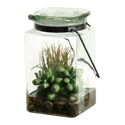 "D&W Silks - Artificial Easter Grass and Sedum in Glass Jar - It's amazing how much adding a plant can change the look of a room or decor, but it can be difficult if your space is not conducive to growing plants, or if you weren't exactly born with a ""green thumb."" Invite the beauty of nature into your home without all the upkeep with this maintenance-free, allergy-free arrangement of artificial Easter grass and sedum in a glass jar. This is not a living plant."