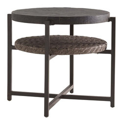 Lexington - Tommy Bahama Blue Olive End Table - The double round surfaces of the end table provides additional room for favorite magazines or keeping items within reach without crowding the top. The custom Weatherstone top replicates the texture and appearance of natural slate.