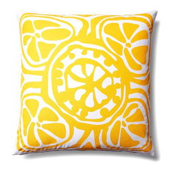 5 Surry Lane - Modern Contemporary Floral Home Decor Pillow Accent Print, Yellow - The traditional floral pattern has been redesigned with modern colors and graphic appeal. 100% cotton.  Wash in cold water with mild detergent.  Down insert included. Hidden zipper closure. Made in China.
