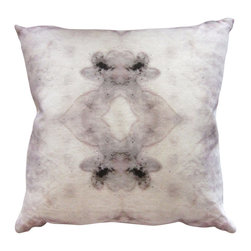 """Eskayel - The Teacher - Rooster 18""""X18"""" Pillow - Unlock your creative slumber with this unique pillow. The inkblot-like pattern is printed on 100 percent linen and includes a hidden zipper to remove the insert."""