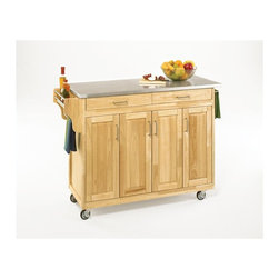 Home Styles - Home Styles Create-a-Cart 49 Inch Stainless Top Kitchen Cart in Natural - Home Styles - Kitchen Carts - 92001012 - Home Styles Create-a-Cart Kitchen Cart in a natural finish with a stainless steel top features solid wood construction, four cabinet doors open to storage with three adjustable shelves inside, handy spice rack with towel bar, paper towel holder, and heavy duty locking rubber casters for easy mobility and safety.