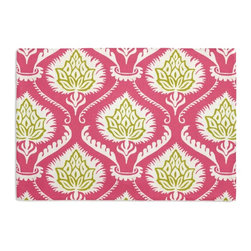 Pink Artichoke Custom Placemat Set - Is your table looking sad and lonely? Give it a boost with at set of Simple Placemats. Customizable in hundreds of fabrics, you're sure to find the perfect set for daily dining or that fancy shindig. We love it in this preppy modern print of pink & green artichokes and damask-like scrolls.