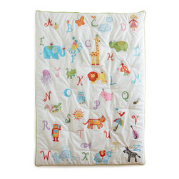 The Little Acorn - Alphabet Adventure Quilt - The Alphabet Adventure quilt has over 52 charming hand crafted applique's and embroideries from Bridget Kelly's artful paintings! Soft white percale ground with hand quilted tufting. Reverse is cotton sateen multi colored stripe. This versatile quilt can be used as a nursery wall hanging with pole pocket on reverse, as well as a functional toddler quilt. In the true spirit of heirloom quality, this incredibly detailed quilt can be passed down in the family for generations.  Made in China