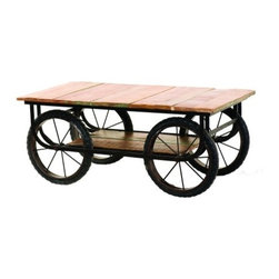 """YOSEMITE HOME DECOR - Cocktail Table - What a fun and whimiscal occasional table. Made of solid mango wood with a metal frame. Four metal rims and rubber bicycle tires support this fun  table. A lightly textured top and shelf provide plenty of storage space. Made in India.  Overall Item Dimensio 49""""Wx24""""Dx20""""H"""