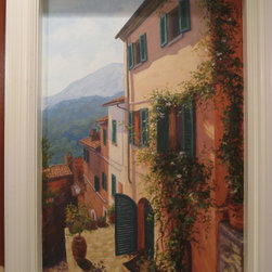 Painting of Tuscan Village Scene on Wall in Bathroom - Donna Lightfoot