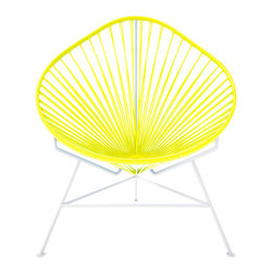 Acapulco Chair, White Frame, Yellow - The Acapulco Chair - contemporary lounge or occasional chair suitable for indoors and out.  Composed of a tripod metal base and seat woven with vinyl cord. The Acapulco chair is similar in construction and form to our Innit chair though slightly more reclined with a pear shaped frame.  The galvanized steel is rust resistant and the very durable yet flexible, UV protected vinyl will stay colorfast for years.  This chair is incredibly comfortable without a cushion.  Its weatherproof, breathable, easy to clean, and available in everybodys favorite color. *Please refer to swatch image for accurate product color variations.