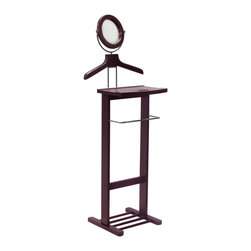 Winsome - Valet Stand with Mirror - This dresser valet stand can accommodates a shirt, jacket, trousers, and pair of shoes. The This valet features a trouser rack for his pants, a tray for jewelry, keys, or a wallet. The tilt mirror is perfect for a quick morning brush up. The base holds a pair of shoes.